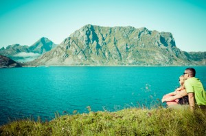 Picturesque coastal panorama on Lofoten islands in Norway on sunny summer day